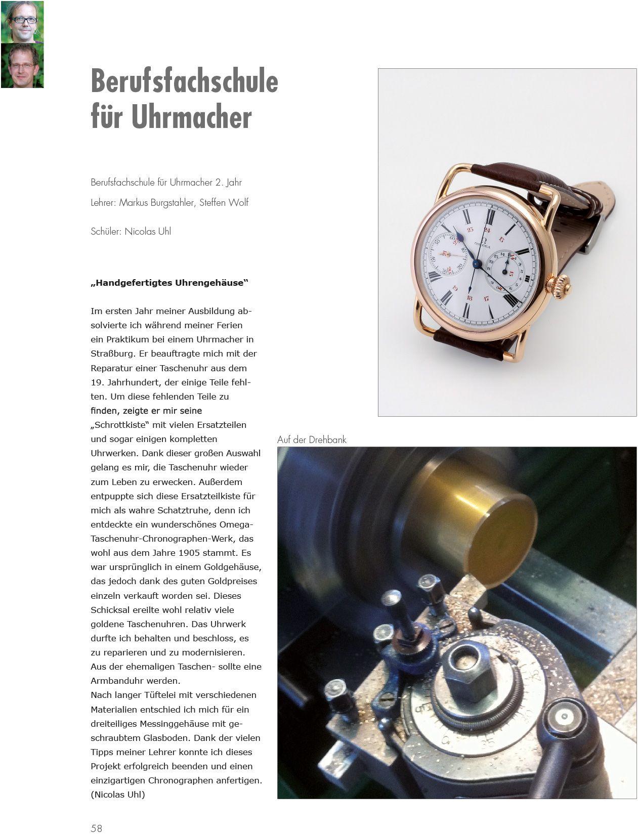 2016 - Handgefertigtes Uhrgehäuse - Berufsfachschule für Uhrmacher